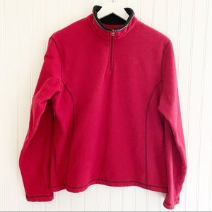 KUHL microchamois cozy fleece 1/4 zip pullover top red size large